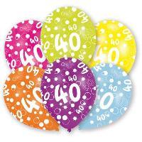 Ballon Decoratif  Et Pompe 6 Ballons - Latex - Nombre 40 - Imprime tous cotes