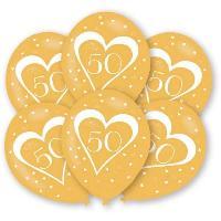 Ballon Decoratif  Et Pompe 6 Ballons - Latex - Nombre 50 - Or