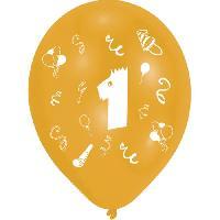 Ballon Decoratif  Et Pompe 8 Ballons - Latex - Chiffre 1 - Imprime 2 faces