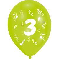 Ballon Decoratif  Et Pompe 8 Ballons - Latex - Chiffre 3 - Imprime 2 faces
