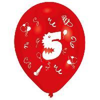 Ballon Decoratif  Et Pompe 8 Ballons - Latex - Chiffre 5 - Imprime 2 faces