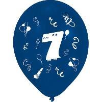 Ballon Decoratif  Et Pompe 8 Ballons - Latex - Chiffre 7 - Imprime 2 faces