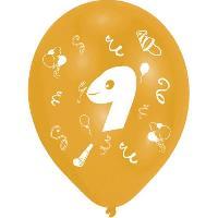 Ballon Decoratif  Et Pompe 8 Ballons - Latex - Chiffre 9 - Imprime 2 faces