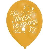 Ballon Decoratif  Et Pompe 8 Ballons - Latex - Happy Birthday - Imprime 2 faces - Or