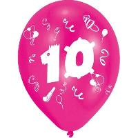 Ballon Decoratif  Et Pompe 8 Ballons - Latex - Nombre 10 - Imprime 2 faces