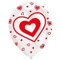 Ballon Decoratif  Et Pompe Lot de 6 Ballons - Latex - Coeurs - Imprimé tous côtés - Rouge et blanc - Amscan