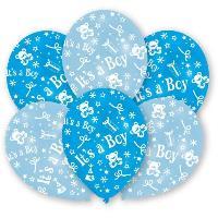 Ballon Decoratif  Et Pompe Lot de 6 Ballons - Latex - It's a Boy - Imprimé tous côtés - Amscan