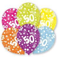 Ballon Decoratif  Et Pompe Lot de 6 Ballons - Latex - Nombre 50 - Imprimé tous côtés - Amscan