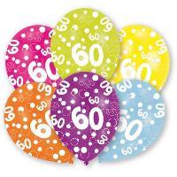 Ballon Decoratif  Et Pompe Lot de 6 Ballons - Latex - Nombre 60 - Imprimé tous côtés - Amscan