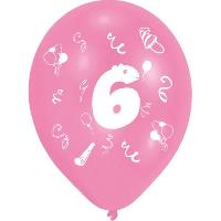 Ballon Decoratif  Et Pompe Lot de 8 Ballons - Latex - Chiffre 6 - Imprimé 2 faces - Amscan