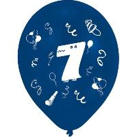 Ballon Decoratif  Et Pompe Lot de 8 Ballons - Latex - Chiffre 7 - Imprimé 2 faces - Amscan
