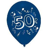Ballon Decoratif  Et Pompe Lot de 8 Ballons - Latex - Nombre 50 - Imprimé 2 faces - Amscan