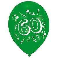 Ballon Decoratif  Et Pompe Lot de 8 Ballons - Latex - Nombre 60 - Imprimé 2 faces - Amscan