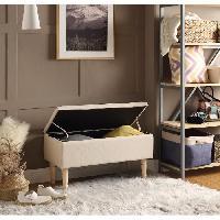 Banc EMILIE Banc avec coffre de rangement - Tissu beige ecru - Classique - L 80 x P 43.5 cm
