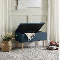 Banc EMILIE Banc avec coffre de rangement - Tissu bleu canard - Classique - L 80 x P 43.5 cm