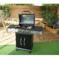 Barbecue Barbecue a gaz 3 bruleurs - Fonte emaillee - 51x39.5cm - Noir
