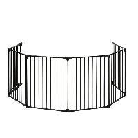 Barriere De Securite Bebe Barriere Pare Feu Multi fonctions Metal 70cm-370cm Noire