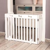 Barriere De Securite Escalier - Porte Barriere de securite - 3 pieces - 82-124x61 cm - Blanc - Pour chien