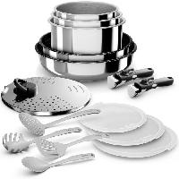 Batterie De Cuisine BACKEN Set de batteries de cuisine - Inox - 15 pieces - Tous feux dont induction