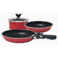 Batterie De Cuisine BAUMALU 341978 Set de cuisson gain de place 5 pieces 2 poeles a frire + 1 casserole + 1 couvercle verre + 1 poignée amovible
