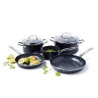 Batterie De Cuisine GREENPAN Batteries de cuisine 7 pieces Berlin - O 16 - 20 - 24 - 28 cm - Aluminium forge - Noir - Tous feux dont induction