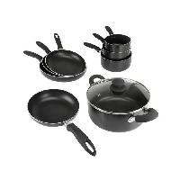 Batterie De Cuisine Lot de 3 casseroles + 4 poeles + 1 faitout + 1 couvercle noir
