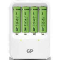 Batterie Photo - Optique Chargeur pour piles rechargeables LR6/AA et LR03/AAA - livré avec 4 accus AA 2000mAh  - GP Batteries