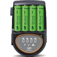 Batterie Photo - Optique Chargeur rapide pour piles rechargeables LR6/AA et LR03/AAA - livré avec 4 accus AA 2600mAh  - GP Batteries