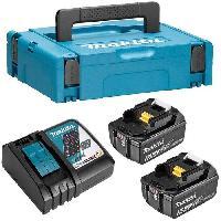 Batterie Pour Machine Outil MAKITA Pack energie 18 V Li-ion - 2 batteries (5Ah) + 1 chargeur rapide en coffret Makpac - 197624-2