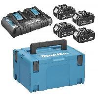 Batterie Pour Machine Outil MAKITA Pack energie 18 V Li-ion - 4 batteries (5Ah) + 1 chargeur double en coffret Makpac - 197626-8