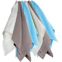 Bavoir TROIS KILOS SEPT 1 Lot de 6 langes 70x70 cm Blanc / Marron / Turquoise