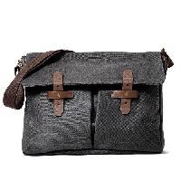 Besace - Sac Reporter KINSTON Grande Besace Machu Picchu - Pour PC portable - Noir