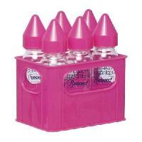 Biberon Et Pieces Detachees DBB REMOND Lot de 6 biberons en verre 240 ml + Porte-biberons - Rose
