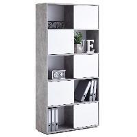 Bibliotheque FUTURA Bibliotheque style contemporain melaminee decor gris effet beton et blanc brillant - L 90 cm