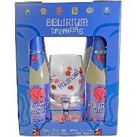 Biere Et Cidre Coffret Delirium Biere blonde + 1 verre - 4 x 33 cl