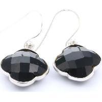 Bijoux CAPUCINE Boucles d'oreilles argent-Onyx Noir - Ailoria