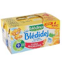 Biscuit Bebe BLEDINA Blédidej Briques de céréales au lait de suite Saveur madeleine - 4x250 ml - Des 9 mois