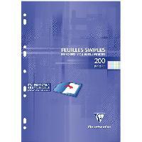 Bloc Note - Bloc De Feuilles CLAIREFONTAINE - Feuilles simples couleurs - 4 coloris assortis - Perforées - 21 x29.7 - 200 pages Seyes - Papier P.E.F.C 90G