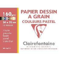 Bloc Note - Bloc De Feuilles CLAIREFONTAINE - Pochette dessin - Papier a grain P.E.F.C - 24 x 32 - 12 feuilles - 160G - Pastel