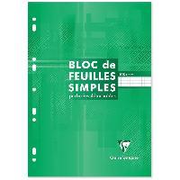 Bloc Note - Bloc De Feuilles CLAIREFONTAINE Bloc Feuilles simples - 210 x 297 mm - 160 pages perforées 9 trous - Papier PEFC 90 g - Couverture vernie