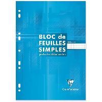 Bloc Note - Bloc De Feuilles CLAIREFONTAINE Bloc Feuilles simples - 210 x 297 mm - 160 pages perforées 9 trous - Seyes papier PEFC 90 g - Couverture vernie