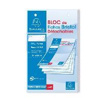 Bloc Note - Bloc De Feuilles EXACOMPTA Bloc 40 fiches Bristol blanches perforées - 125 x 200 mm - 5 x 5 PEFC 205 g - Couverture enveloppée Carte 240 g