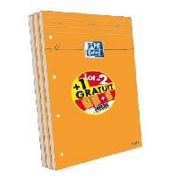 Bloc Note - Bloc De Feuilles OXFORD 3 blocs-notes agrafés et perforés - 21 x 31.5 cm - 160p seyes - 80g - Orange