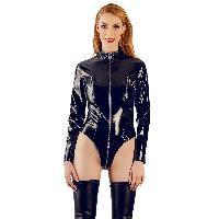 Body Body vinyle noir manches longues - Taille XXL