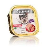 Boite - Patee - Nourriture Humide - Molle CASINO Barquette de terrine au lapin et légumes - Pour chien adulte - 300g