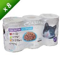 Boite - Patee - Nourriture Humide - Molle CASINO Lot de viandes émincées en gelée - Pour chat adulte