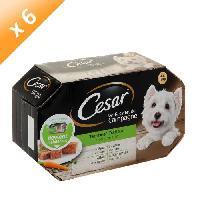 Boite - Patee - Nourriture Humide - Molle CESAR Barquettes en terrine - 4 variétés - Pour chien adulte - 4 x 150 g (x6)