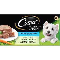 Boite - Patee - Nourriture Humide - Molle CESAR Barquettes en terrine - 4 varietes - Pour chien adulte - 4 x 300 g
