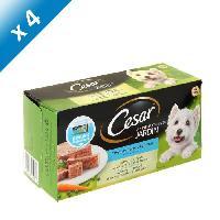 Boite - Patee - Nourriture Humide - Molle CESAR Barquettes en terrine - 4 varietes - Pour chien adulte - 4 x 300 g -x4-