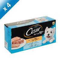 Boite - Patee - Nourriture Humide - Molle CESAR Barquettes en terrine - 4 variétés - Pour chien senior - 4 x 300 g (x4)